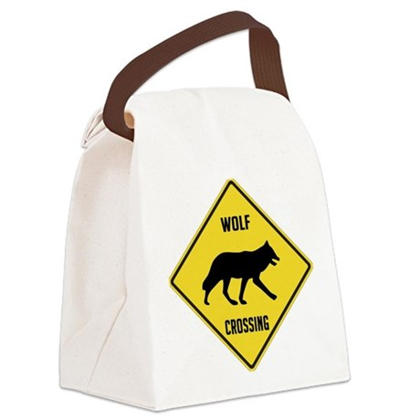 crossing-sign-wolf.png Canvas Lunch Bag