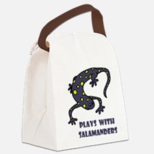 plays-with-salamand... Canvas Lunch Bag