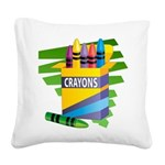 crayons.png Square Canvas Pillow