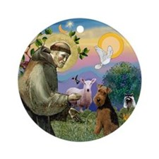 Saint Francis & Welsh Terrier Ornament (Round)