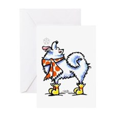Samoyed Eskie Snowflake Greeting Card