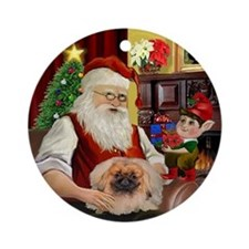 Santa's Pekingese Ornament (Round)