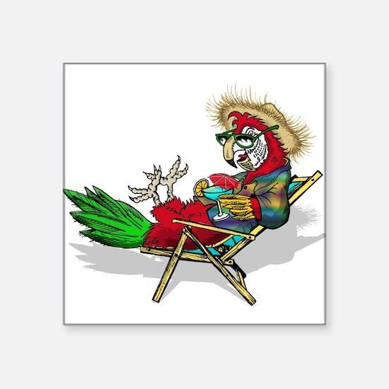 "Parrot Beach Chair Square Sticker 3"" x 3"""