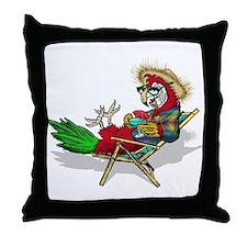 Parrot Beach Chair Throw Pillow