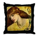 Sancta Lilias by Rossetti Throw Pillow