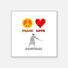 """Peace Love Samurai Square Sticker 3"""" x 3"""""""