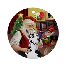 Santa's Great Dane (Harl) Ornament (Round)