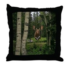 Moose at water hole Throw Pillow