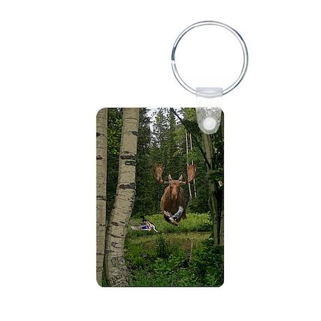 Moose at water hole Aluminum Photo Keychain