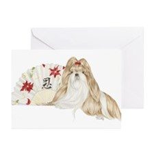 Shih Tzu Christmas SP Brown White Greeting Cards (