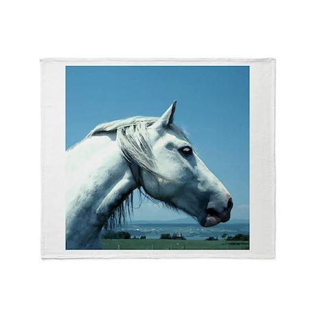 White Arabian Horse Throw Blanket