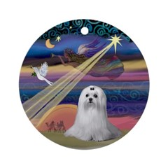 Christmas Star and Maltese Ornament (Round)