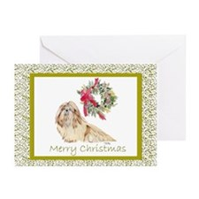 Shih Tzu Christmas SP Gold Greeting Cards (10)