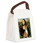 Mona Lisa - Basenji Canvas Lunch Bag