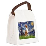 Starry Night & Basenji Canvas Lunch Bag