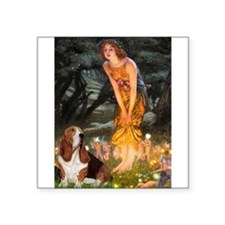 "Fairies & Basset Square Sticker 3"" x 3"""