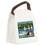 Sailboats & Basset Canvas Lunch Bag
