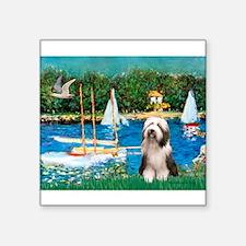 "Sailboats / Beardie #1 Square Sticker 3"" x 3"""