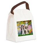 Garden / 2 Bearded Collie Canvas Lunch Bag