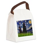 Starry Night /Belgian Sheepdog Canvas Lunch Bag