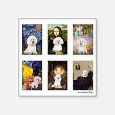 "FamousArt-BichonFrise-CLEAR.png Square Sticker 3"""