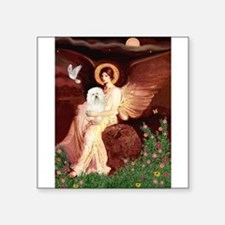 "Seated Angel & Bolognese Square Sticker 3"" x 3"""