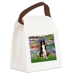 Lilies & Border Collie Canvas Lunch Bag