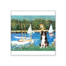"Sailboats & Border Collie Square Sticker 3"" x 3"""