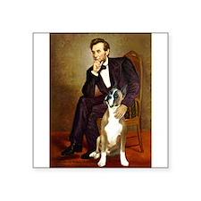 """Lincoln & his Boxer Square Sticker 3"""" x 3"""""""