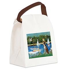 Sailboats & Boxer Canvas Lunch Bag