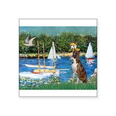 Sailboats & Boxer Square Sticker 3