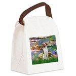 Lilies 2/Brittany Spaniel Canvas Lunch Bag