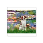 Lilies 2/Brittany Spaniel Square Sticker 3