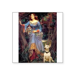 "Ophelia / Bull Ter Square Sticker 3"" x 3"""