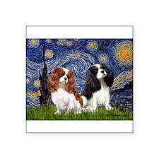 "Starry Cavalier Pair Square Sticker 3"" x 3"""