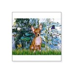 Lilies & Chihuahua Square Sticker 3
