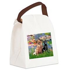 Lilies (2) & 2 Chihuahuas Canvas Lunch Bag