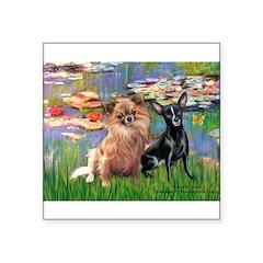 Lilies (2) & 2 Chihuahuas Square Sticker 3
