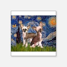 "Starry Night / 2Chinese Crest Square Sticker 3"" x"