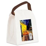 Cafe with Coton de Tulear Canvas Lunch Bag