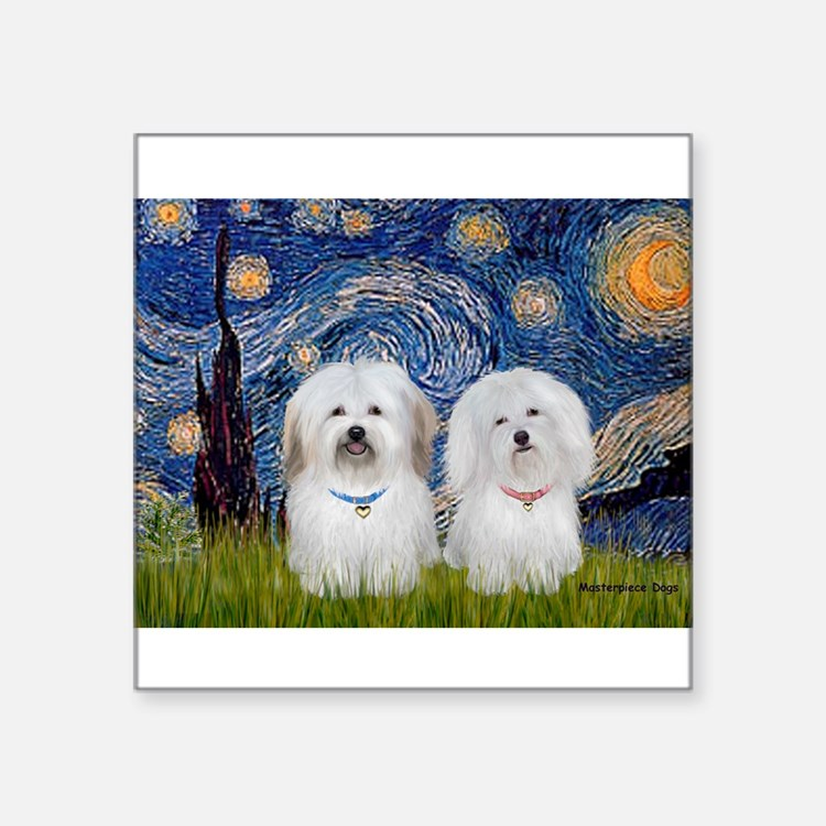 "Starry / Coton Pair Square Sticker 3"" x 3"""