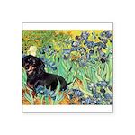 Irises & Dachshund (BT4) Square Sticker 3