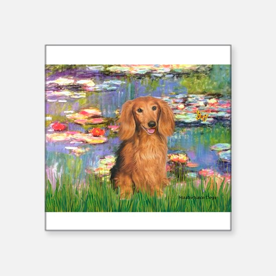 "Lilies (2) & Doxie (LH-Sable) Square Sticker 3"" x"
