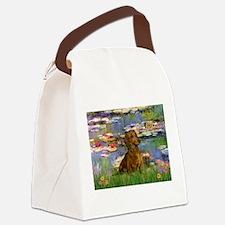 Lilies & Dachshund Canvas Lunch Bag