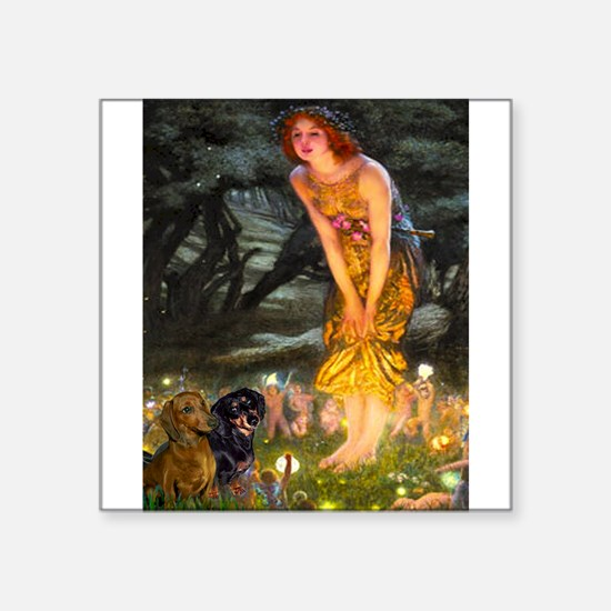 "Fairies / Dachshund Square Sticker 3"" x 3"""