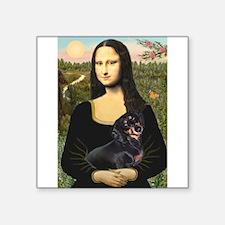 """Mona Lisa/Dachshund (BT4) Square Sticker 3"""" x 3"""""""