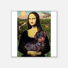 "Mona / Dachshund (wire) Square Sticker 3"" x 3"""