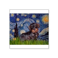 "Starry Night Dachshund (Wire) Square Sticker 3"" x"