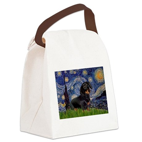 Starry Night Dachshund Canvas Lunch Bag