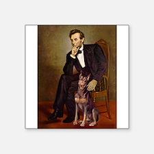 """Lincoln's Red Doberman Square Sticker 3"""" x 3"""""""